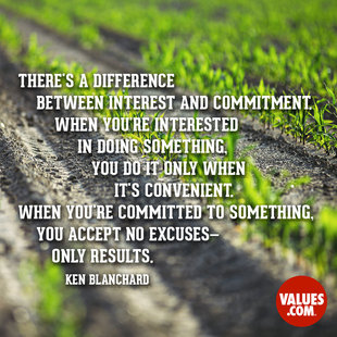 There's a difference between interest and commitment. When you're interested in doing something, you do it only when it's convenient. When you're committed to something, you accept no excuses - only results. #<Author:0x00007f1509429f80>