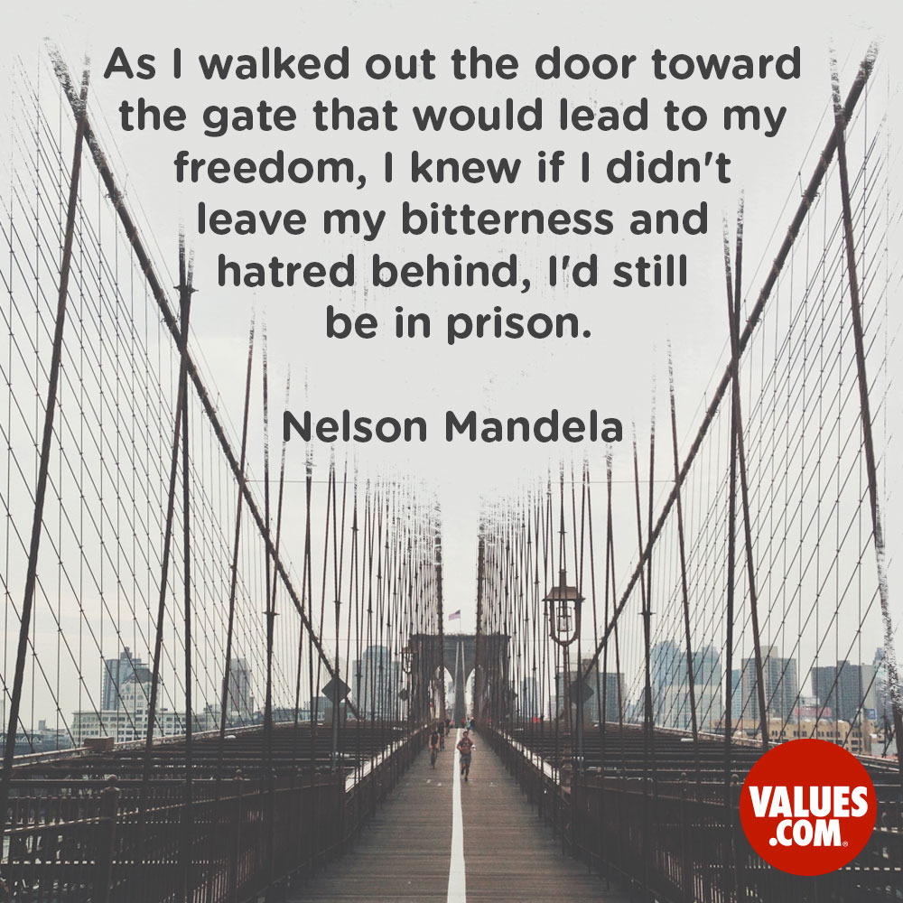 As I walked out the door toward the gate that would lead to my freedom, I knew if I didn't leave my bitterness and hatred behind, I'd still be in prison. —Nelson Mandela