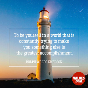 To be yourself in a world that is constantly trying to make you something else is the greatest accomplishment. #<Author:0x00007f50a7284700>