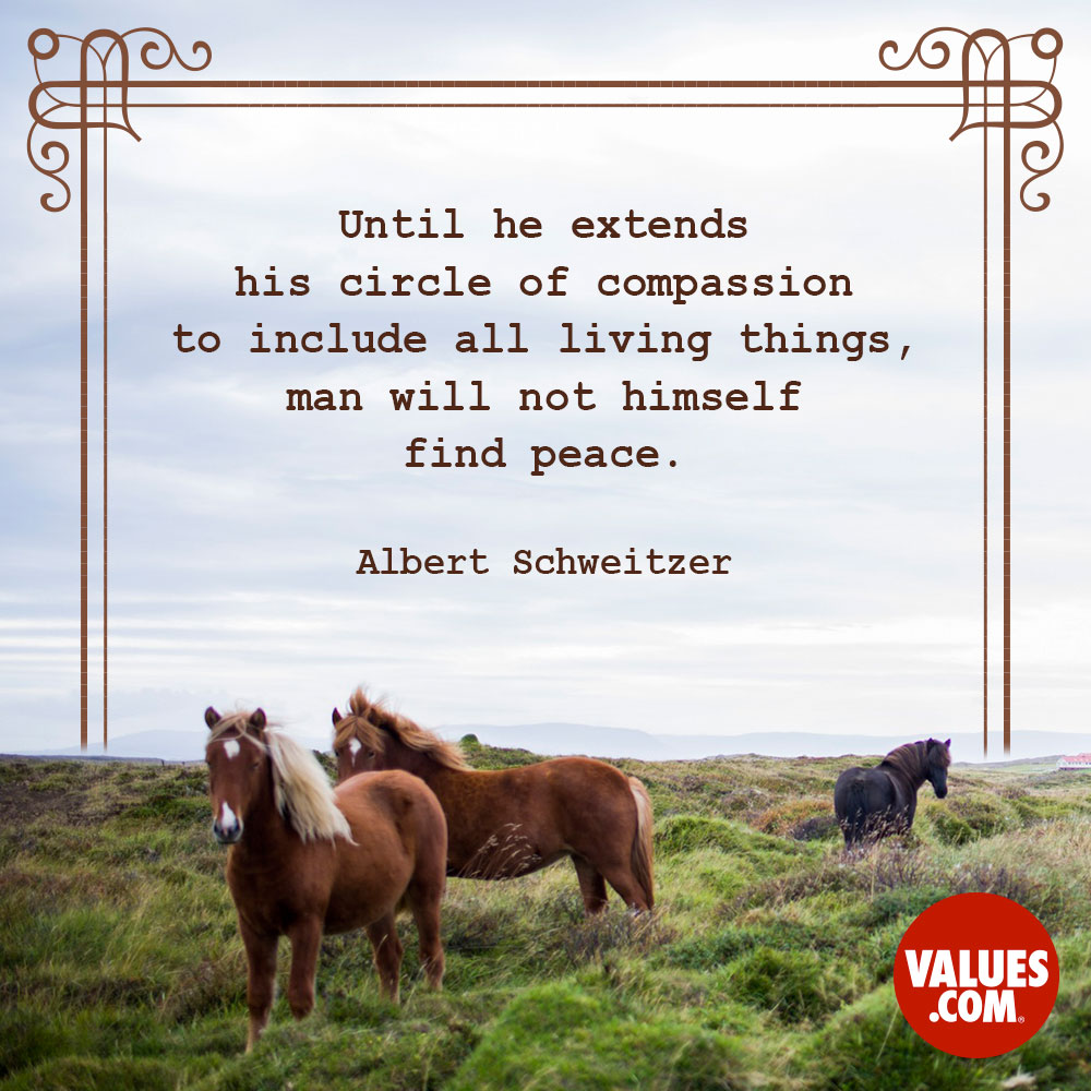Until he extends his circle of compassion to include all living things, man will not himself find peace. —Albert Schweitzer