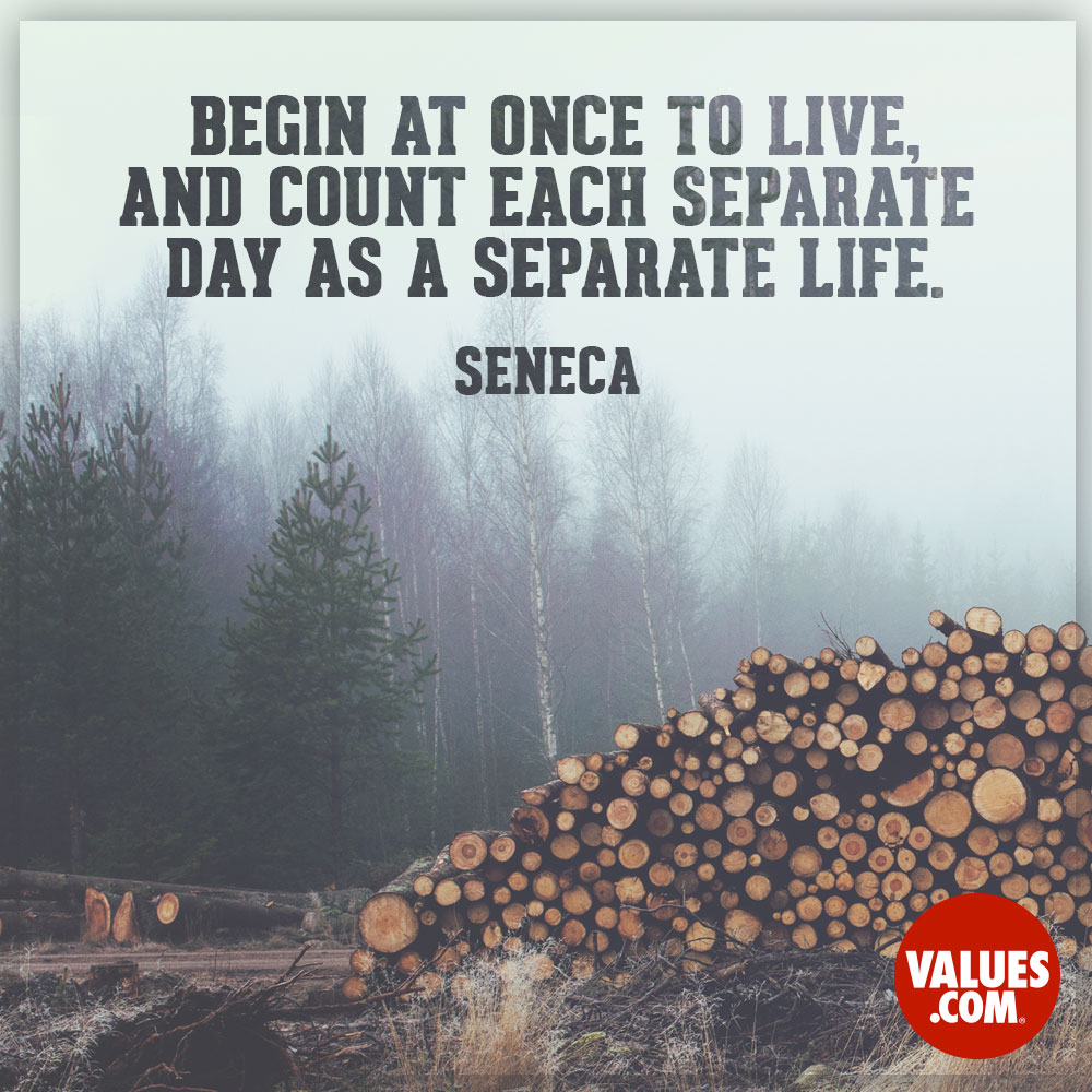Begin at once to live, and count each separate day as a separate life. —Seneca