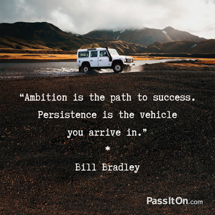 Ambition is the path to success. Persistence is the vehicle you arrive in. #<Author:0x00007faccb008b90>