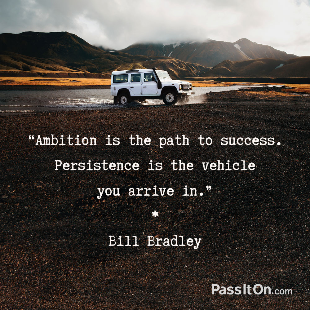 Ambition is the path to success. Persistence is the vehicle you arrive in. —Bill Bradley