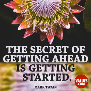 The secret of getting ahead is getting started. #<Author:0x00007f14ed976180>