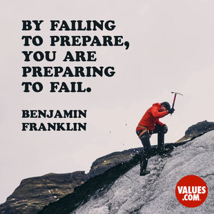 By failing to prepare, you are preparing to fail. #<Author:0x00007facc431c518>