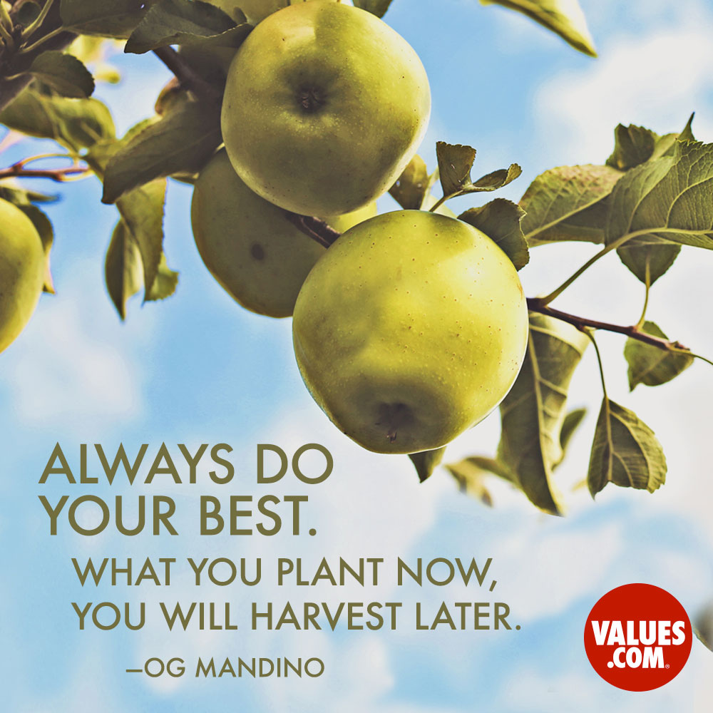 Always do your best. What you plant now, you will harvest later. —Og Mandino