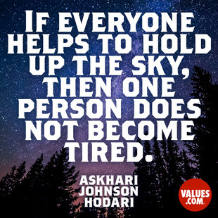 If everyone helps to hold up the sky, then one person does not become tired. #<Author:0x00007f4b6d8e7230>