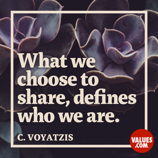 What we choose to share, defines who we are. #<Author:0x00007ffb65401fd8>