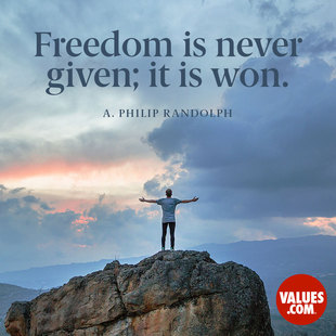 Freedom is never given; it is won. #<Author:0x00007facc44872b8>