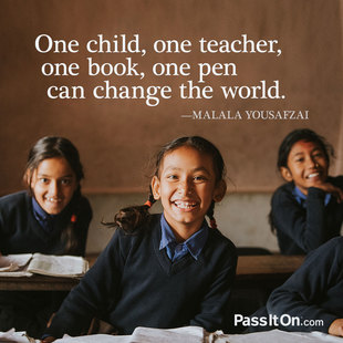 One child, one teacher, one book, one pen can change the world. #<Author:0x00007f72446f7530>