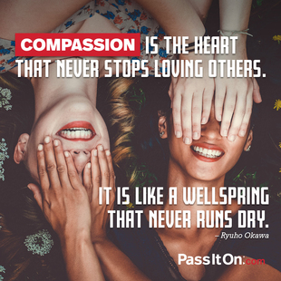 Compassion is the heart that never stops loving others. It is like a wellspring that never runs dry. #<Author:0x00007f2480f08d08>