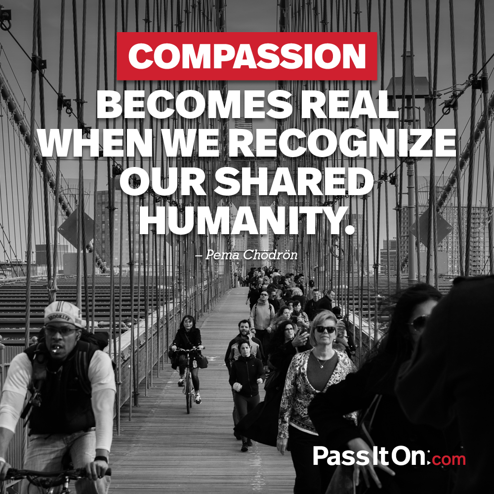 Compassion becomes real when we recognize our shared humanity. —Pema Chodron