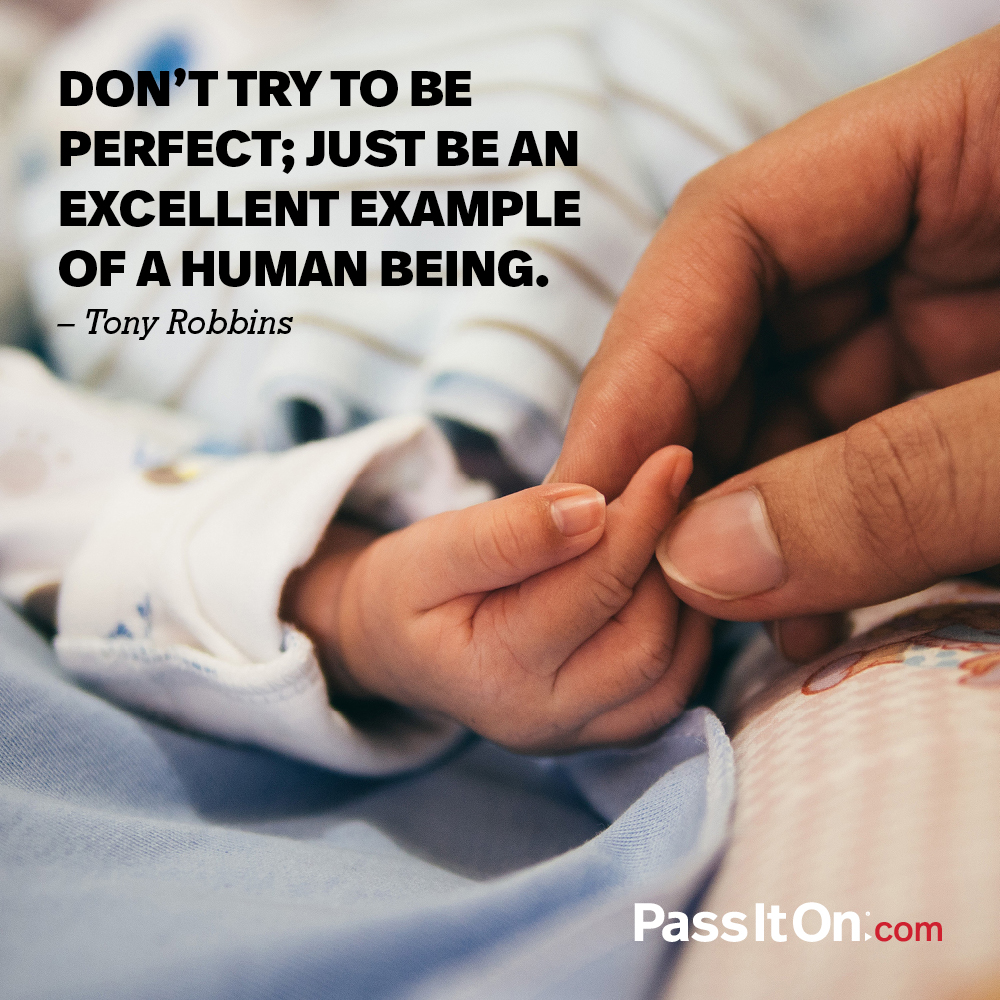 Don't try to be perfect; Just be an excellent example of a human being. —Anthony Robbins