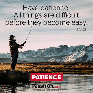 Have patience. All things are difficult before they become easy.  #<Author:0x00007f1f22a4eed8>