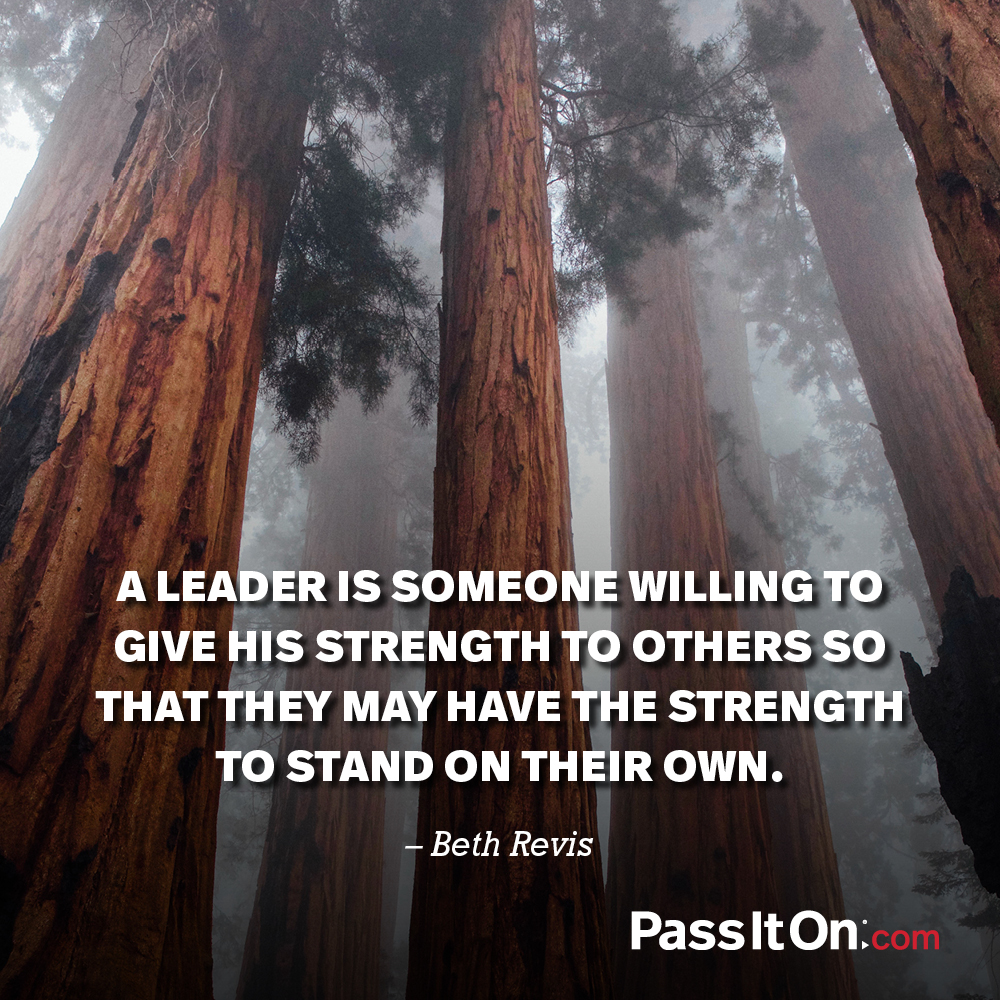 A leader is someone willing to give his strength to others so that they may have the strength to stand on their own. —Beth Revis