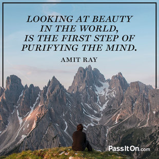 Looking at beauty in the world, is the first step of purifying the mind. #<Author:0x00007f44f3cc14a8>