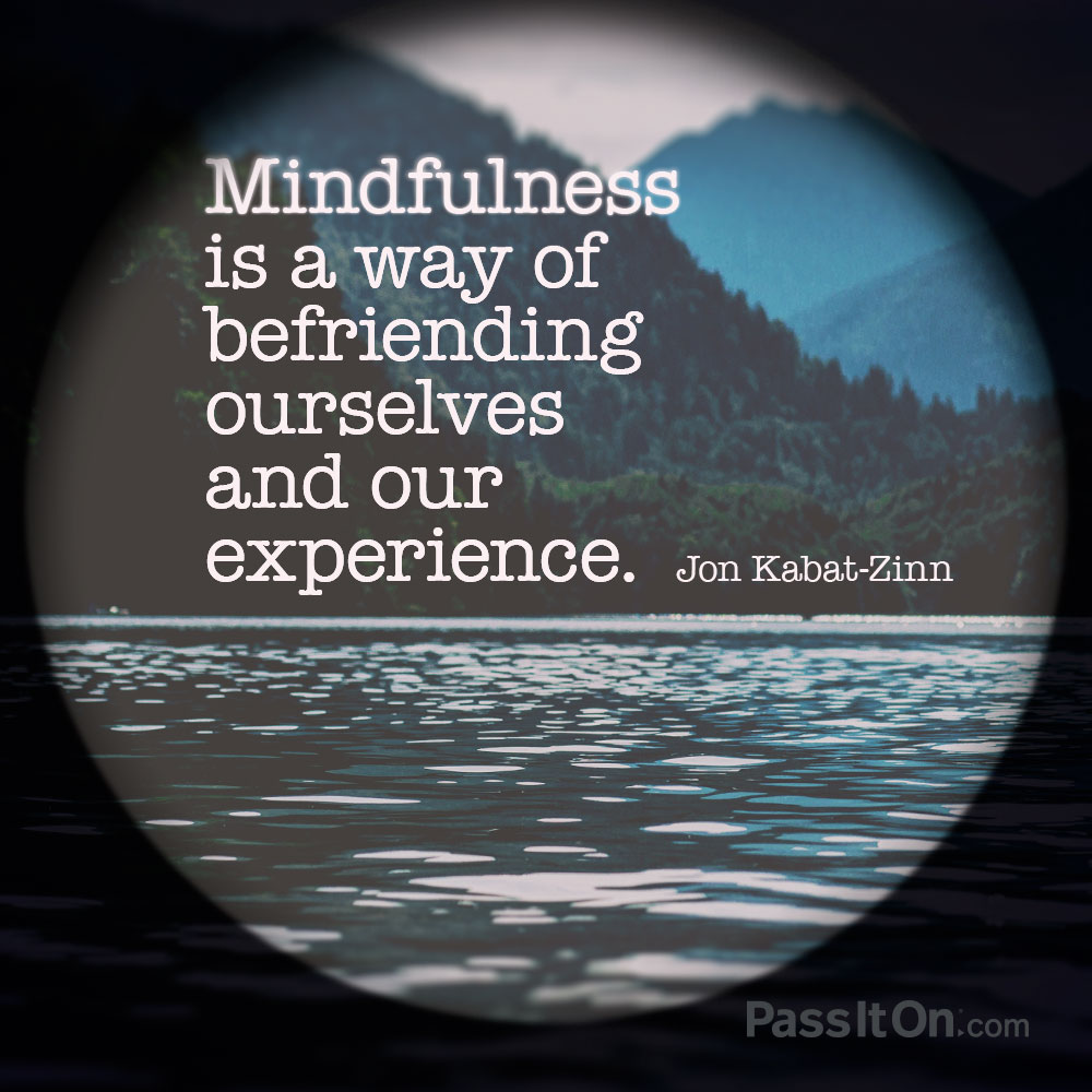 Mindfulness is a way of befriending ourselves and our experience. —Jon Kabat-Ziin