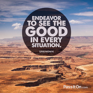 Endeavor to see the good in every situation. #<Author:0x00007f44f8ab1ac8>