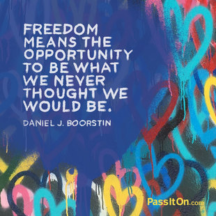 Freedom means the opportunity to be what we never thought we would be. #<Author:0x00007ff312f70f28>