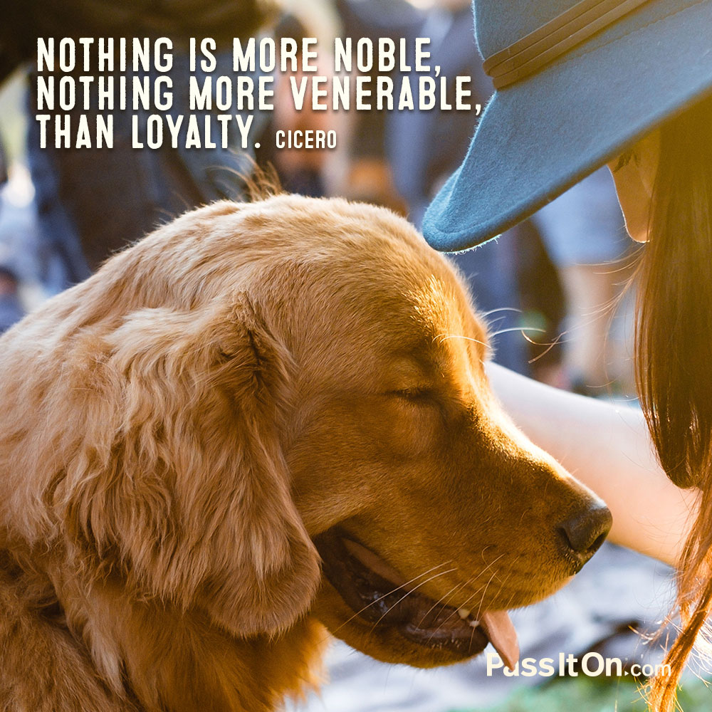 Nothing is more noble, nothing more venerable, than loyalty. —Marcus Tullius Cicero