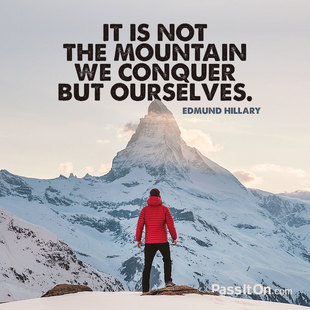 It is not the mountain we conquer but ourselves. #<Author:0x00007f1ec6de5238>