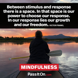 Between stimulus and response there is a space. In that space is our power to choose our response. In our response lies our growth and our freedom. #<Author:0x00007f14f23b4d50>