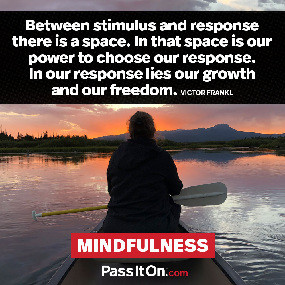 Between stimulus and response there is a space. In that space is our power to choose our response. In our response lies our growth and our freedom. —Viktor Frankl