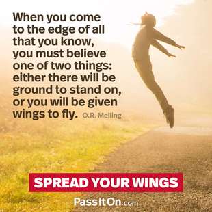 When you come to the edge of all that you know, you must believe one of two things: either there will be ground to stand on, or you will be given wings to fly. #<Author:0x00007f24809b9ca8>