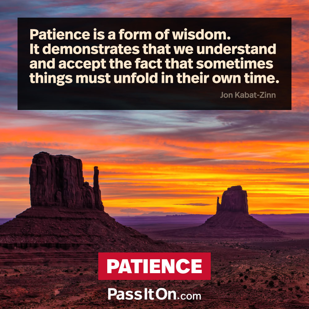 Patience is a form of wisdom. It demonstrates that we understand and accept the fact that sometimes things must unfold in their own time. —Jon Kabat-Ziin