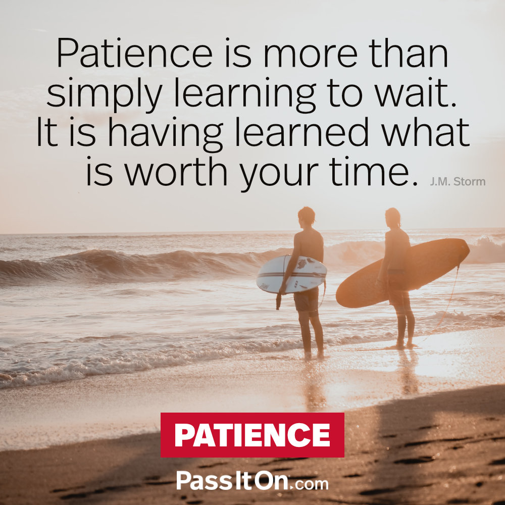 Patience is more than simply learning to wait. It is having learned what is worth your time. —J.M. Storm