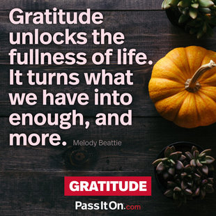 Gratitude unlocks the fullness of life. It turns what we have into enough, and more. #<Author:0x00007f69adc42110>