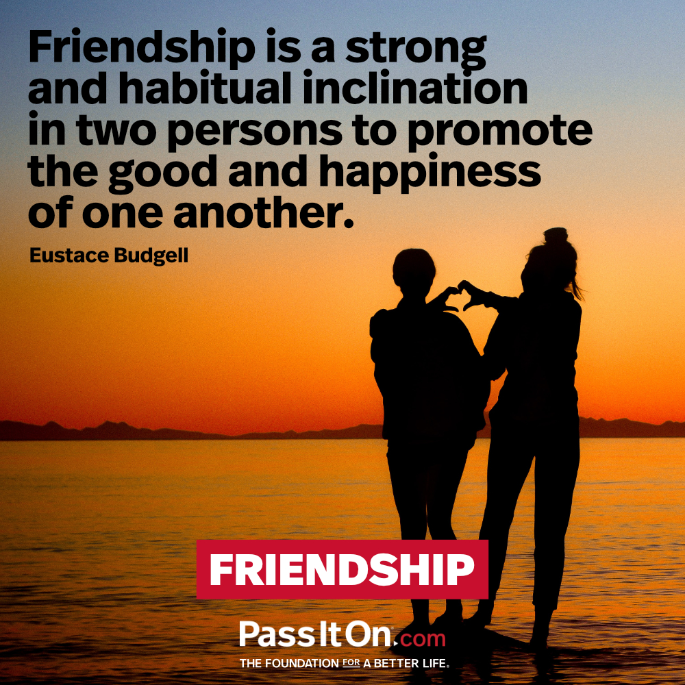 Friendship is a strong and habitual inclination in two persons to promote the good and happiness of one another. —Eustace Budgell