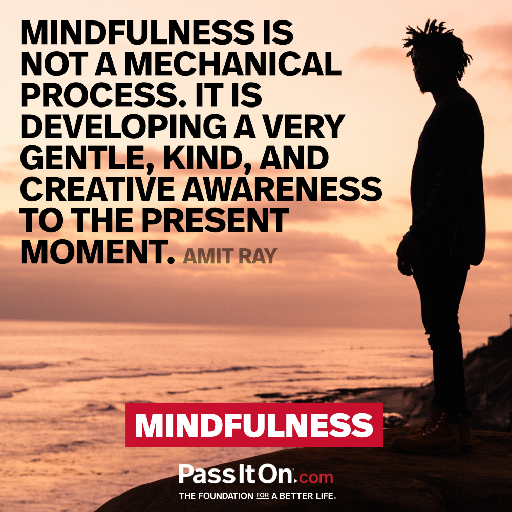 Mindfulness is not a mechanical process. It is developing a very gentle, kind, and creative awareness to the present moment. —Amit Ray