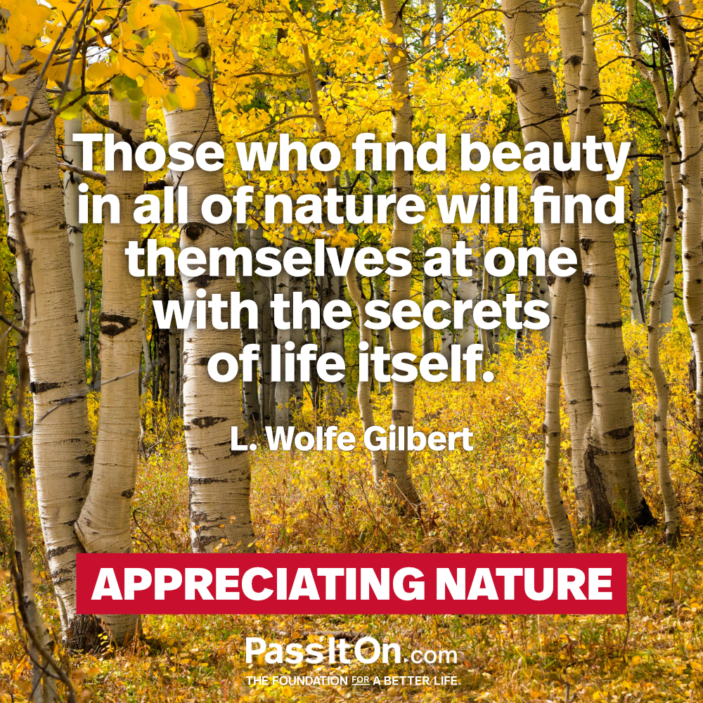 Those who find beauty in all of nature will find themselves at one with the secrets of life itself. —L.Wolfe Gilbert