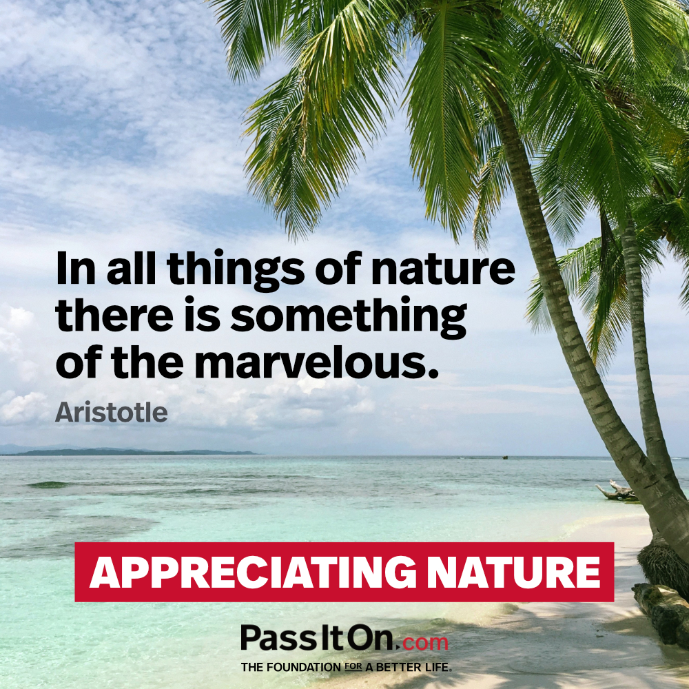 In all things of nature there is something of the marvelous. —Aristotle
