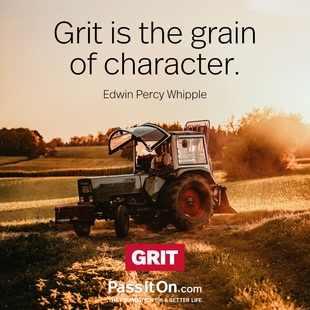 Grit is the grain of character. #<Author:0x00007f0940441308>